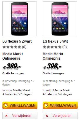 Nexus 5 bij Media Markt