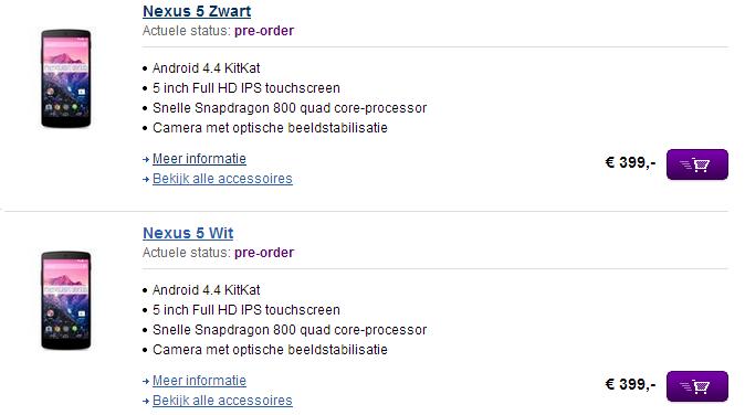 Nexus 5 bij PDAshop.nl