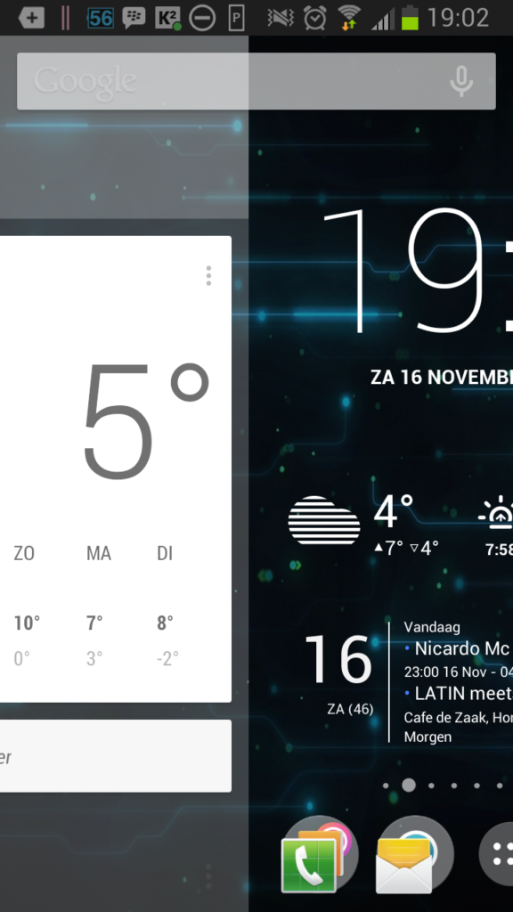 Google Now rechts van Homescreen in GEL
